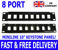 "10"" 8 Port Keystone RJ45 Patch Panel Miniline SOHO UTP Ethernet Network Data Lan"