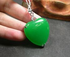 Gold Plate CHINESE Green JADE Pendant Love Heart Diamond (Imitation) 247723
