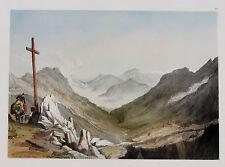 Col du BONHOMME Original Tonlithografie 1841 J D GLENNIE  koloriert