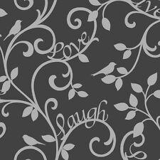 Fine Decor Live Love Laugh Scroll Designer Feature Wallpaper Black / Silver