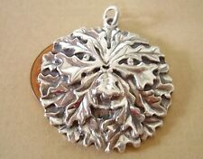 BEAUTIFUL STERLING  SILVER OAK LEAF GREEN MAN PENDANT