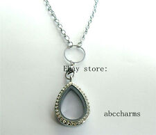 (new style)Crystal Drop floating charm locket + necklace rolo chain 24""
