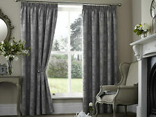 "PALERMO FLORAL 66"" x 90"" SILVER GREY PENCIL PLEAT LINED READY MADE HEAVY CURTAIN"