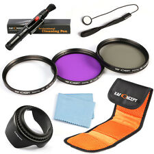 58mm UV CPL FLD Lens Filter Kit For Canon Rebel T4i T3i T2i T1i T3 XSi Hood Pen