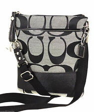 NEW COACH Sig Crossbody North South Stripe SWINGPACK Purse Black White 42619