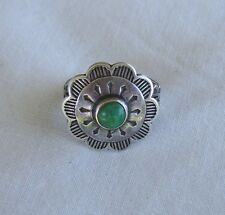 Vintage Sterling Silver 925 Green Turquoise Navajo Shield Ring sz 8 wt 5.1g