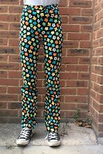 Kookai Vintage Trousers Black With Amazing Flower Detail Size 6uk