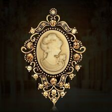 Retro Women Princess Victorian Cameo Jewellery Party Christmas Gold Brooch Pin