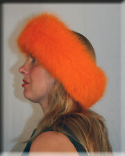 New Fluorescent Orange Fox Fur Headband 26 Inches Long and 5 Inches Wide