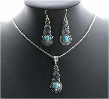 Turquoise beaded crystal pendant necklace earrings jewelry set