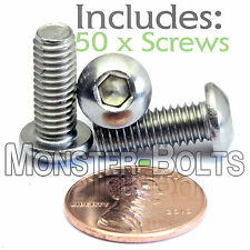 6mm x 1.00 x 16mm - Qty 50 - A2 Stainless Steel BUTTON HEAD Screws ISO 7380 M6