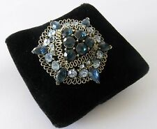 Mid Century Signed 1950's LISNER Art Glass Sky Blue Rhinestones Brooch Pin
