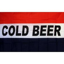 Cold Beer Flag Banner Sign 3' x 5' Foot Polyester Grommets Red White Blue