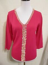 Bob Mackie hot pink sequin/bead  embellished sweater