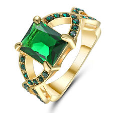 Size 8 Green Emerald Cross Wedding Ring 10KT Yellow Gold Filled Women's Jewelry