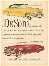 1953 Vintage ad for DeSoto Retro Car Red Yellow Photo Convertible(062616)