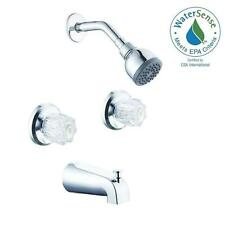 NEW 2 Handle 1 Spray Tub Wall Mount Shower Head Bathroom Bath Chrome Faucet Set
