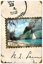 USA Postage Stamp Sailing South Seas Metal Sign Unique Vintage Decor WADE005