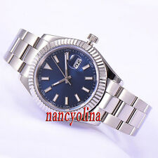 Parnis 40mm brushed case Blue dial sapphire glass automatic date mens watch P522