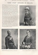 1897 ANTIQUE MILITARY PRINT-THREE STAFF OFFICERS IN IRELAND