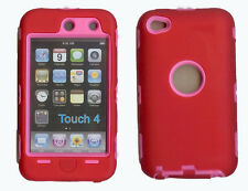 Built in Screen Protector Case / Cover iPOD TOUCH 4 RED / HOT PINK Free Stylus!!