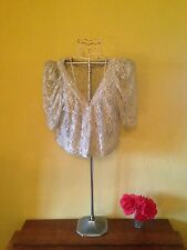 Vintage look size 12 cream bow floral sheer cropped lace top cover up cardigan