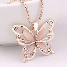 Fashion Women Rose Gold Opal Butterfly Pendant Long Sweater Chain Necklace Gift