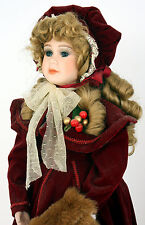 "21"" Vintage Bisque Porcelain Girl Victorian Doll Burgandy Dress Fur Muff"