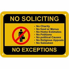 No Soliciting No Exceptions Front Door Home Business Security Sign
