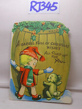 VINTAGE CHRISTMAS CARD 1940'S BOY-DOG-BARREL FULL OF WISHES ALL PILED UP FOR YOU