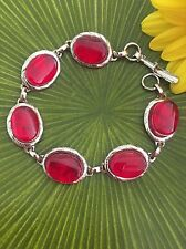 "Red Fused Dichroic Glass Jewelry Bezel Set Link Bracelet 7""  Handmade Art"
