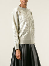 ALEXANDER MCQUEEN GREY LACE BIRD JACQUARD SWEATSHIRT MEDIUM