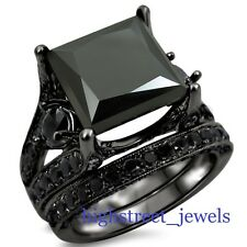 Opaque Black Diamond Bridal Set 925 Black Silver Engagement Ring New #!