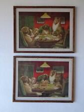 """Set of 2 Coolidge Dogs Playing Poker  Brown & Bigelow Lithographs 16.5"""" x 12.5"""""""