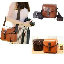 Vintage Leather Shoulder Camera Bag For Canon 550D Nikon DSLR Case Brown Hot