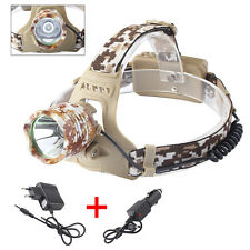 4000LM XM-L T6 LED Headlamp Headlight Camouflage 18650 Head Torch +AC/DC Charger