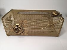 Vintage Metal Tissue Box Cover Holder Gold Color Floral Rose Filigree Ball Feet