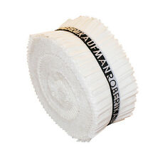 "Kaufman KONA COTTON SOLIDS WHITE Roll Up 2.5"" Fabric Strips Jelly RU-190-40"
