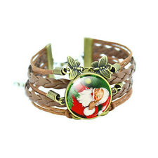 Christmas Vintage Style Bronze Brown Leather Santa Claus Bangle Bracelet BB167