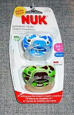 NUK ORTHODONTIC BABY BOYS 2 PACK SILICONE AIR SYSTEM PACIFIER 6+ MONTHS NEW