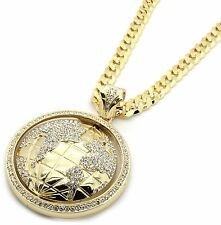 "Mens Gold Iced Out The World Earth Pendant Hip-Hop 30"" Inch Cuban Necklace Chain"