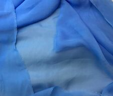 "Sheer Soft Silk ORGANZA Fabric Hand Dyed CORNFLOWER BLUE 54"" Wide -By The Yard-"