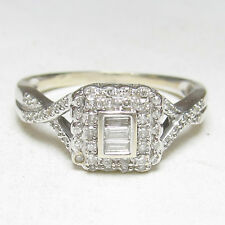 Estate $1900 14K White Gold Baguette And Single Cut Diamond Ring 0.36 Cts