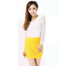Women Pleated Seamless High Waist Stretch Tight Sexy Bodycon Pencil Mini Skirt R