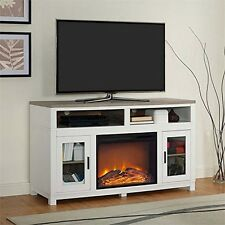 Ameriwood Home Carver Electric Fireplace TV Stand for TVs up to 60in- White NEW