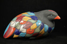 Ceramic Bird Pottery Hand Painted Large Colorful