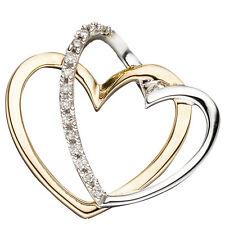 Anhänger Herzen 14 Diamanten Brillanten Herzanhänger 585 Gelbgold bicolor 44762