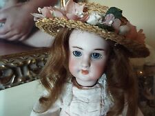 ANTIQUE FRENCH BISQUE HEAD DOLL, MARKED DEP WITH STAMPED BEBE JUMEAU BODY, 14""