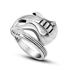 Guitar Stainless Steel Ring Silver Punk Rock Band Men's Biker Rings Size 11 Gift