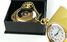 FIREFIGHTER 24ct GOLD Hunter POCKET WATCH FIREMAN FIRE & RESCUE BRIGADE GIFT